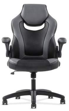 Hon Sadie Racing Gaming Computer Chair- Flip-Up Arms, Black and Gray Leather (HVST911)