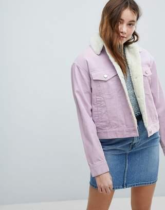 Asos DESIGN cord jacket with fleece collar in lilac
