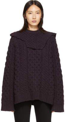 Raf Simons Purple Aran Collar Sweater