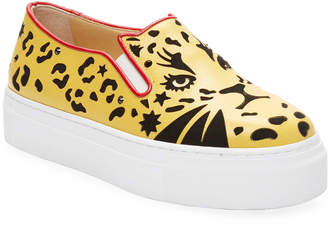 Charlotte Olympia Graphic Leather Slip-On Sneaker