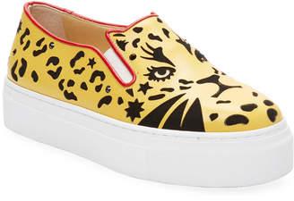 Charlotte Olympia Feline Slip-On Platform Leather Sneaker