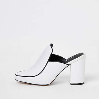 River Island White leather closed toe mules