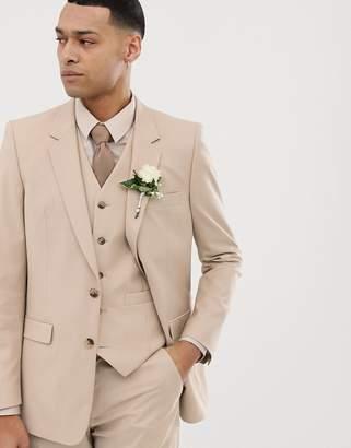 Asos Design DESIGN wedding slim suit jacket in camel