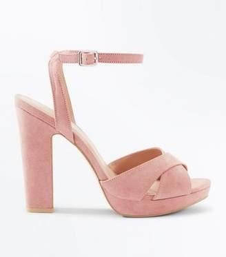 New Look Pink Suedette Cross Strap Platform Block Heels