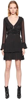 Just Cavalli Viscose Crepe Dress W/ Crystals