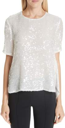 ADAM by Adam Lippes Open Back Sequin Embroidered Blouse
