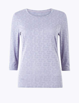 Marks and Spencer Jacquard Round Neck 3/4 Sleeve Top