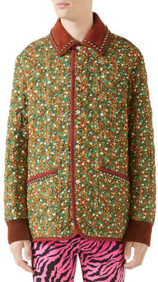 Gucci Men's Floral-Print Quilted Jacket