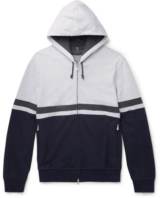 Brunello Cucinelli Colour-Block Stretch-Cotton Jersey Zip-Up Hoodie