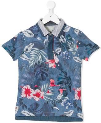 Lapin House tropical-print polo shirt