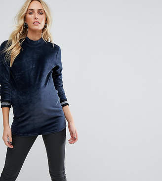 Supermom Maternity Velvet Top With High Neck And Sleeve Tipping