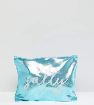 South Beach Salty Metallic Blue Zip Top Pouch Clutch Bag