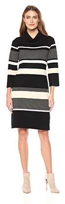 Sandra Darren Women's 1 Pc Long Sleeve Printed Striped Cowl Neck Sweater Dress