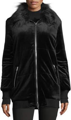Free Generation Faux-Fur Trimmed Puffer Jacket, Black