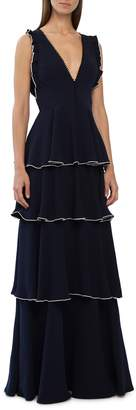 ML Monique Lhuillier Layered Crepe Gown