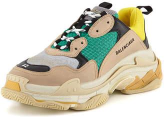 Balenciaga Men's Triple S Mesh & Leather Sneakers, Yellow
