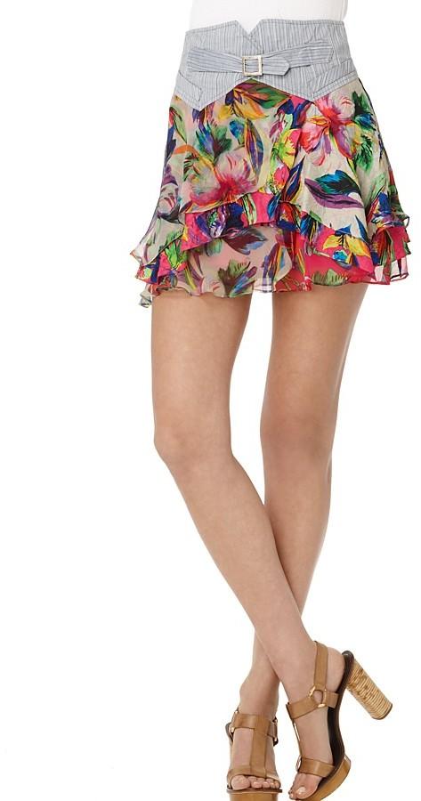 Nanette Lepore Tiered Floral Miniskirt