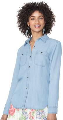 Chaps Petite Button-Down Jean Shirt