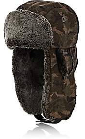 Crown Cap Men's Camouflage Melton Trapper Hat-Md. Green