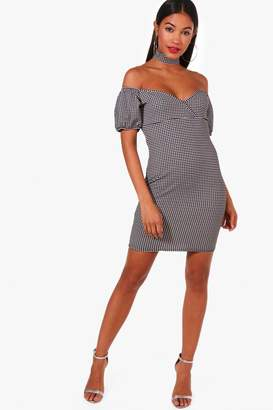 boohoo Off Shoulder Gingham Choker Bodycon Dress