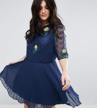 Asos Embroidered Mini Pleat and Lace Dress