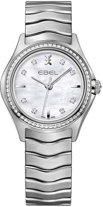 Ebel Wave 1216194 Mother of Pearl Diamond Set Stainless Steel Bracelet Ladies Watch