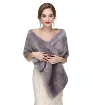 King's Love Faux Fur Shawl Wrap Scarf Stoles Long Wedding Shawls For Women