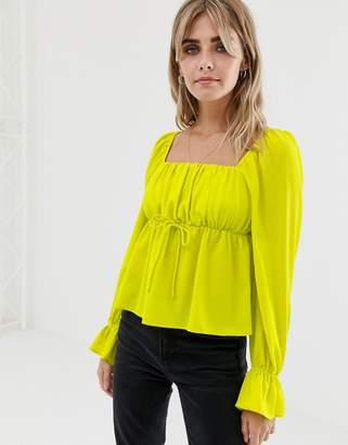 Asos Design DESIGN long sleeve square neck blouse in neon