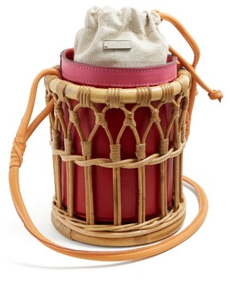 Wai Wai - Maloca Bamboo Cage Bucket Bag - Womens - Red