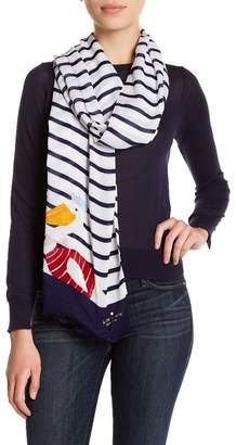 Kate Spade Percy Stripe Frayed Trim Scarf