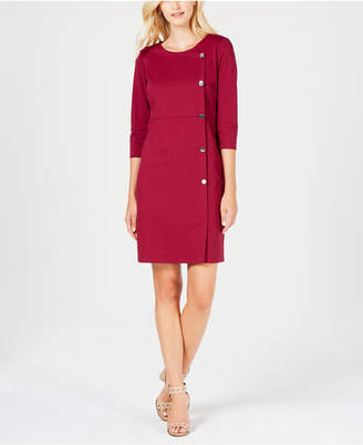 NY Collection Petite Button-Trim Sheath Dress