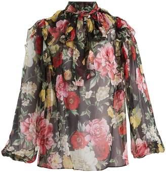 Dolce & Gabbana Tie-neck floral-print silk blouse