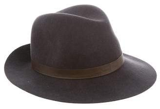 Janessa Leone Leather-Trimmed Fedora Hat