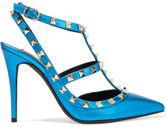 Valentino - Rockstud Metallic Textured-leather Pumps - Bright blue $1,045 thestylecure.com