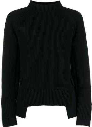 Sacai knitted sweatshirt with jacket panels