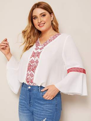 Shein Plus Bell Sleeve Embroidered Tape Top