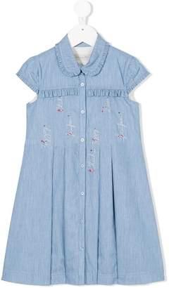Christian Dior embroidered and frill trim denim dress