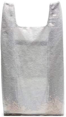 Ashish White large sequin nylon tote bag
