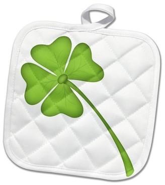 3dRose Green Four Leaf Clover Illustration - Pot Holder, 8 by 8-inch