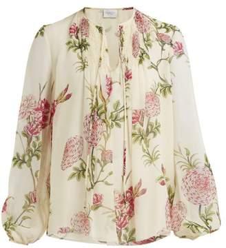 Giambattista Valli Floral Print Silk Georgette Blouse - Womens - Ivory Multi