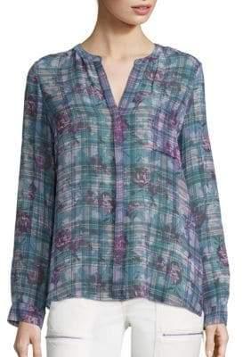 Joie Brigid C Floral & Plaid Silk Blouse