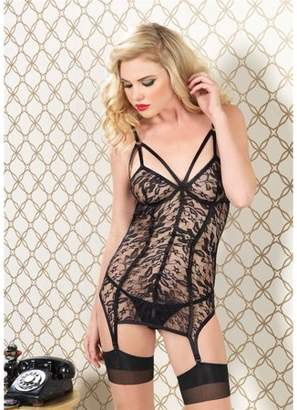 Leg Avenue Women's 2 Piece Lace Cage Strap Garter Dress and G-String, Black, Small