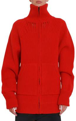 Maison Margiela Ribbed Cardigan With Cut-out Details