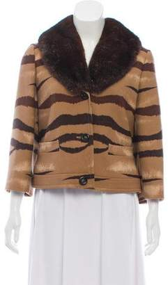 Valentino Virgin Wool Animal Print Coat