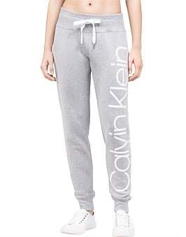 Calvin Klein Rib Trim Logo Fleece Pant White Logo