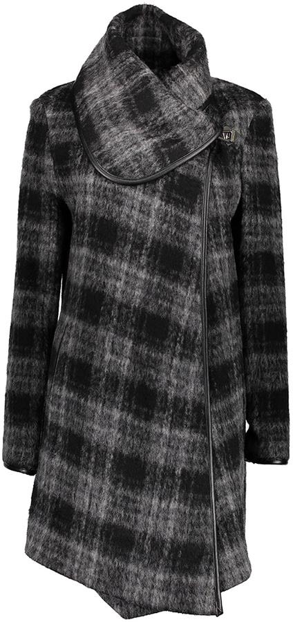 Betsey JohnsonBlack & Gray Plaid Wool-Blend Coat