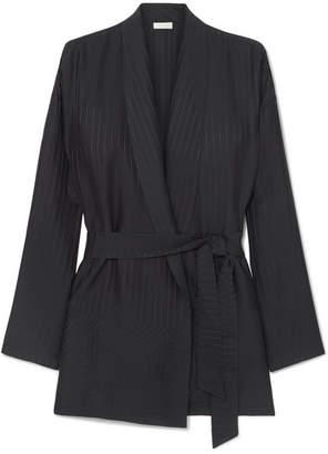 Eres Midday Striped Silk-satin Jacquard Robe - Black