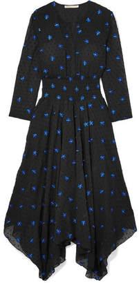 Maje Embroidered Swiss-dot Chiffon Midi Dress - Black