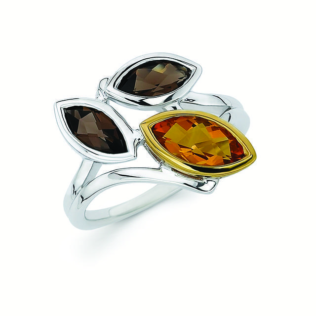 Citrine and Quartz 18K Gold and Silver Maquise 3-Stone Ring by Boston Bay Diamonds