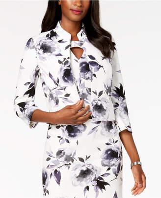 Kasper Floral-Print Flyaway Jacket, Regular & Petite